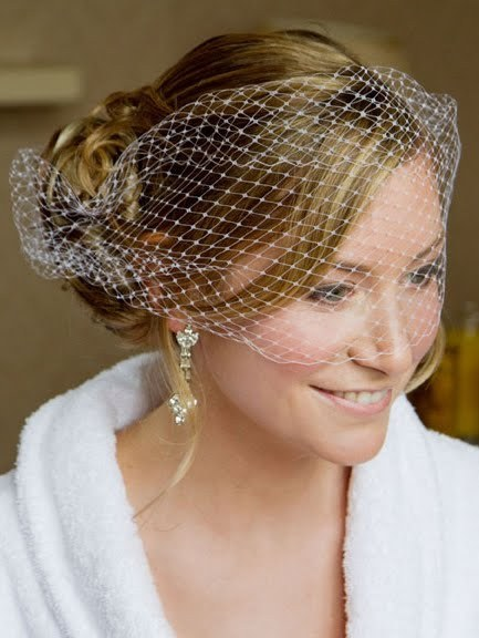 Soft up style with birdcage veil