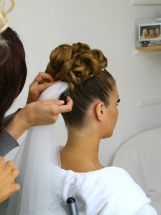 High updo and veil