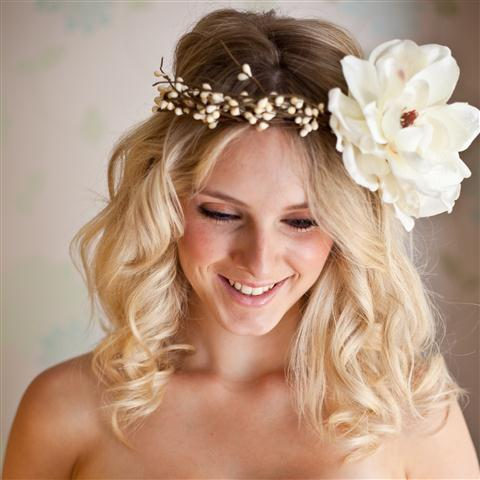halo headband with buds and large white magnolia flower