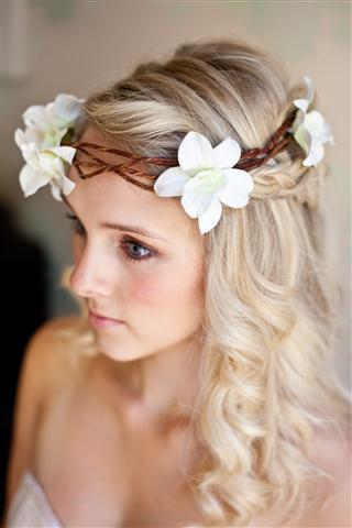 Orchid halo headband with vines white orchid flowers