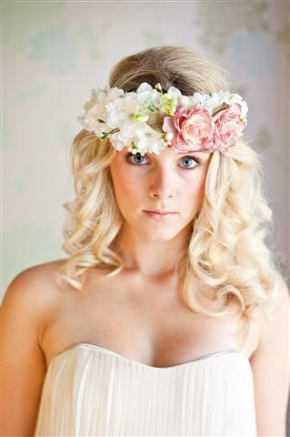 Floral head band pink and white flowers with ribbon tie at back