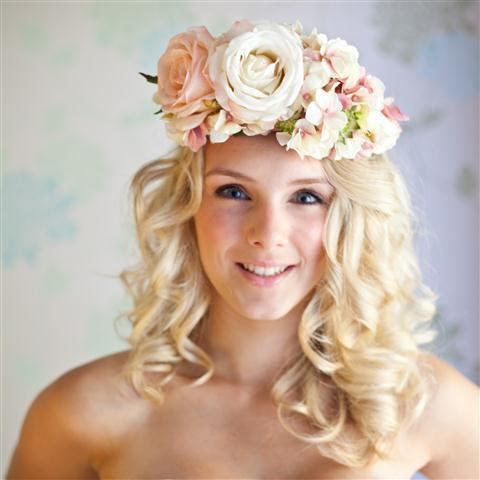Floral head band with pink flowers,Midsummer