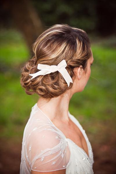 Hair up with a ribbon accesory