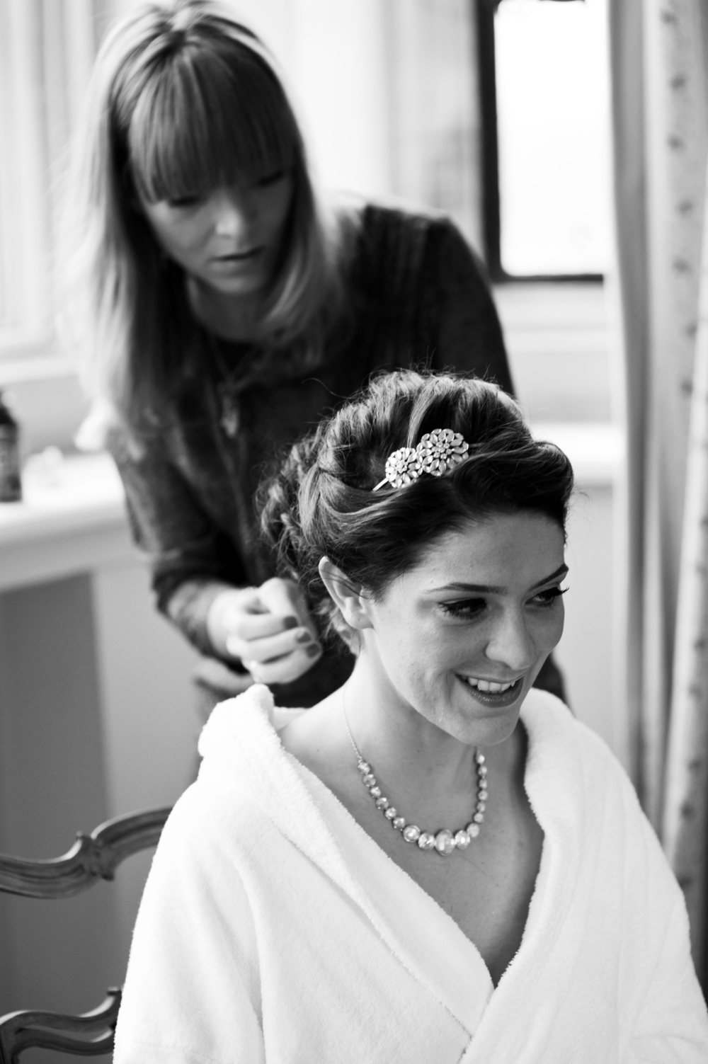 Soft bridesmaids hair up by jo Irving