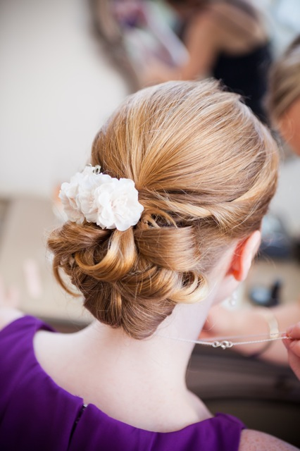 Bridesmaid hair up with flowers