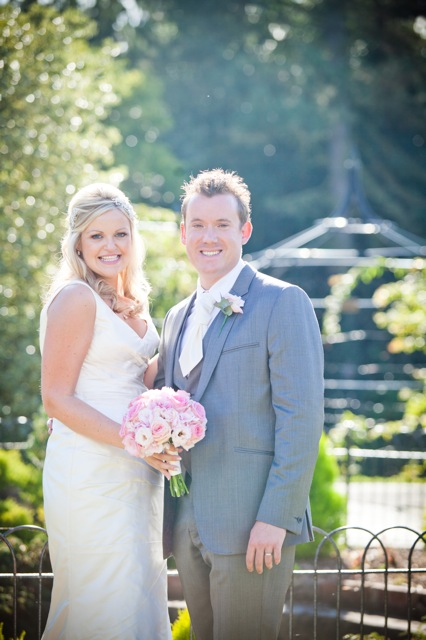 Happy bride & groom at Nonsuch Mansion
