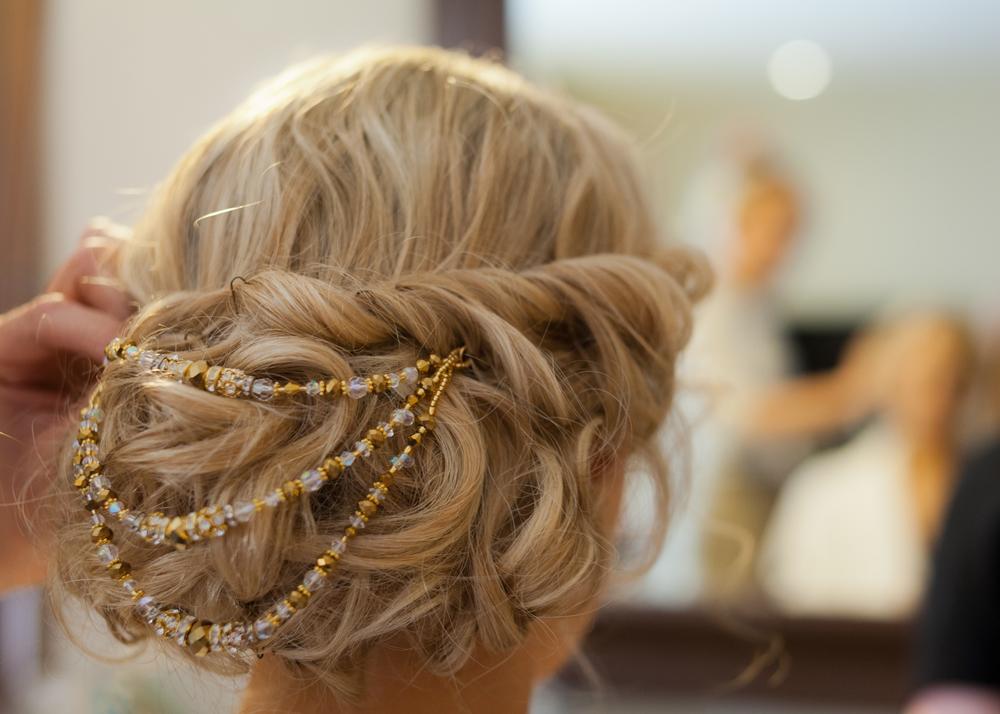 Elegant bridal hair with beads