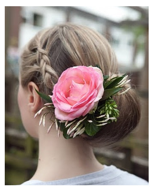 Wedding Hair With Plait & Fresh Flowers