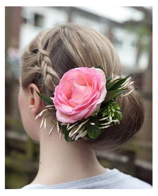 Wedding Hair With Plait & Fresh Flowers