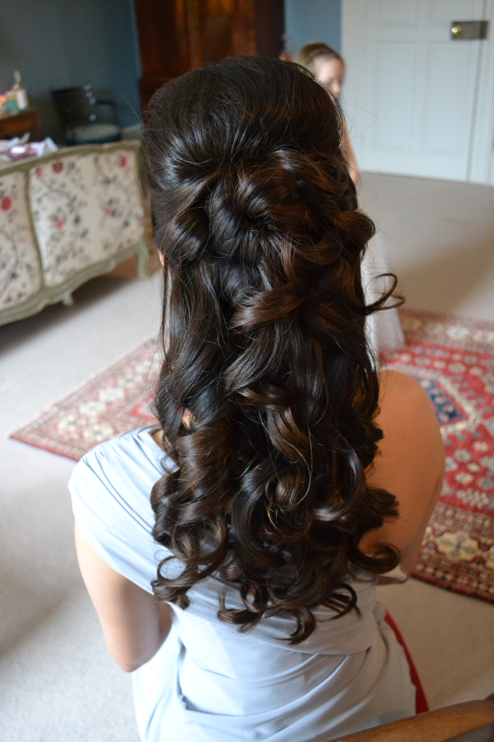 Half Up Bridesmaid Hair For Cornwall Wedding