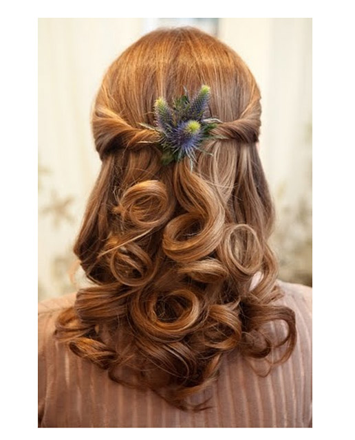 Half Up Wedding Hair With Thistles