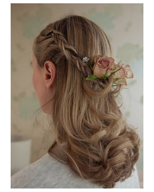 Half Up Wedding Hair With Fresh Flowers