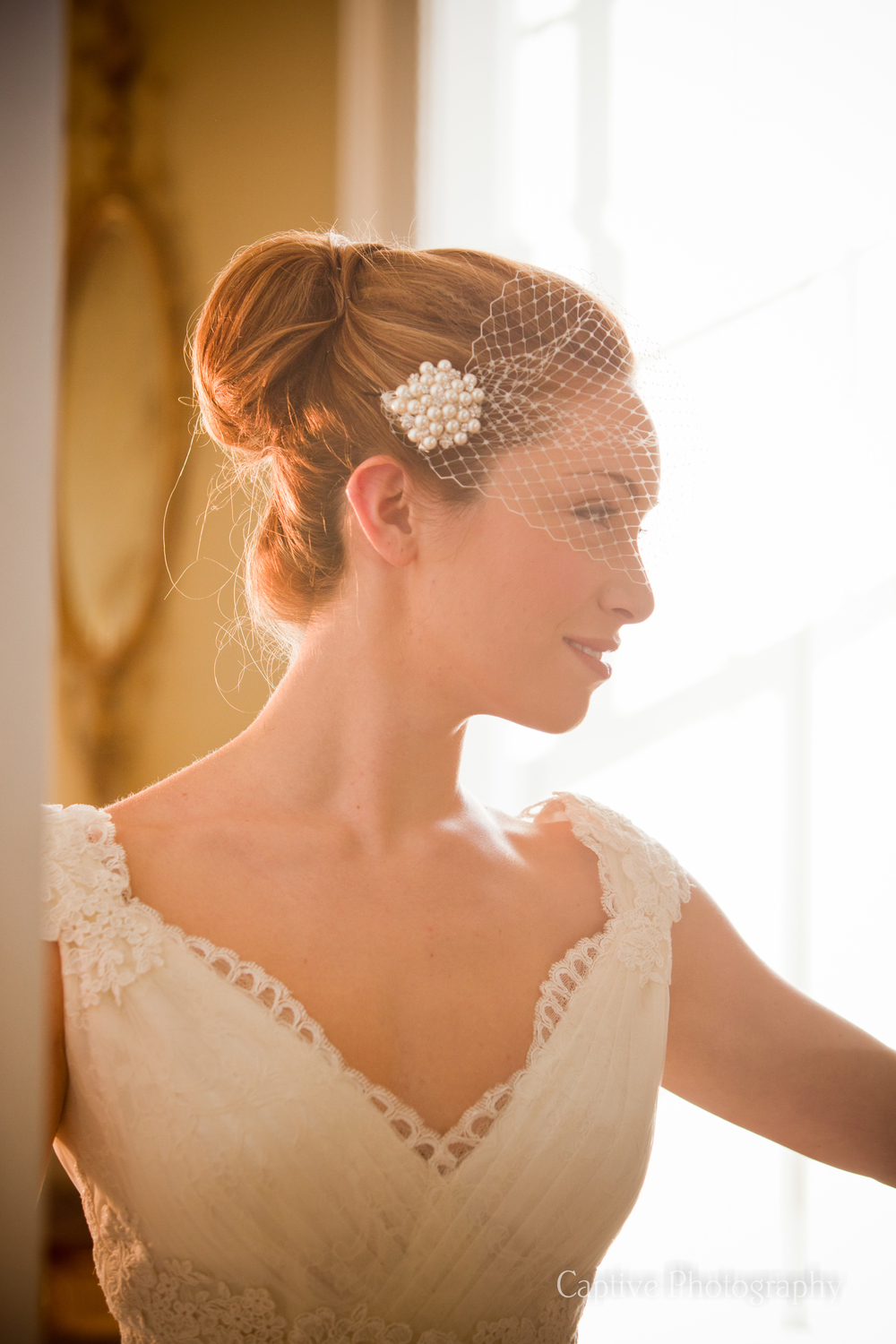 Hair Up With Visor Veil