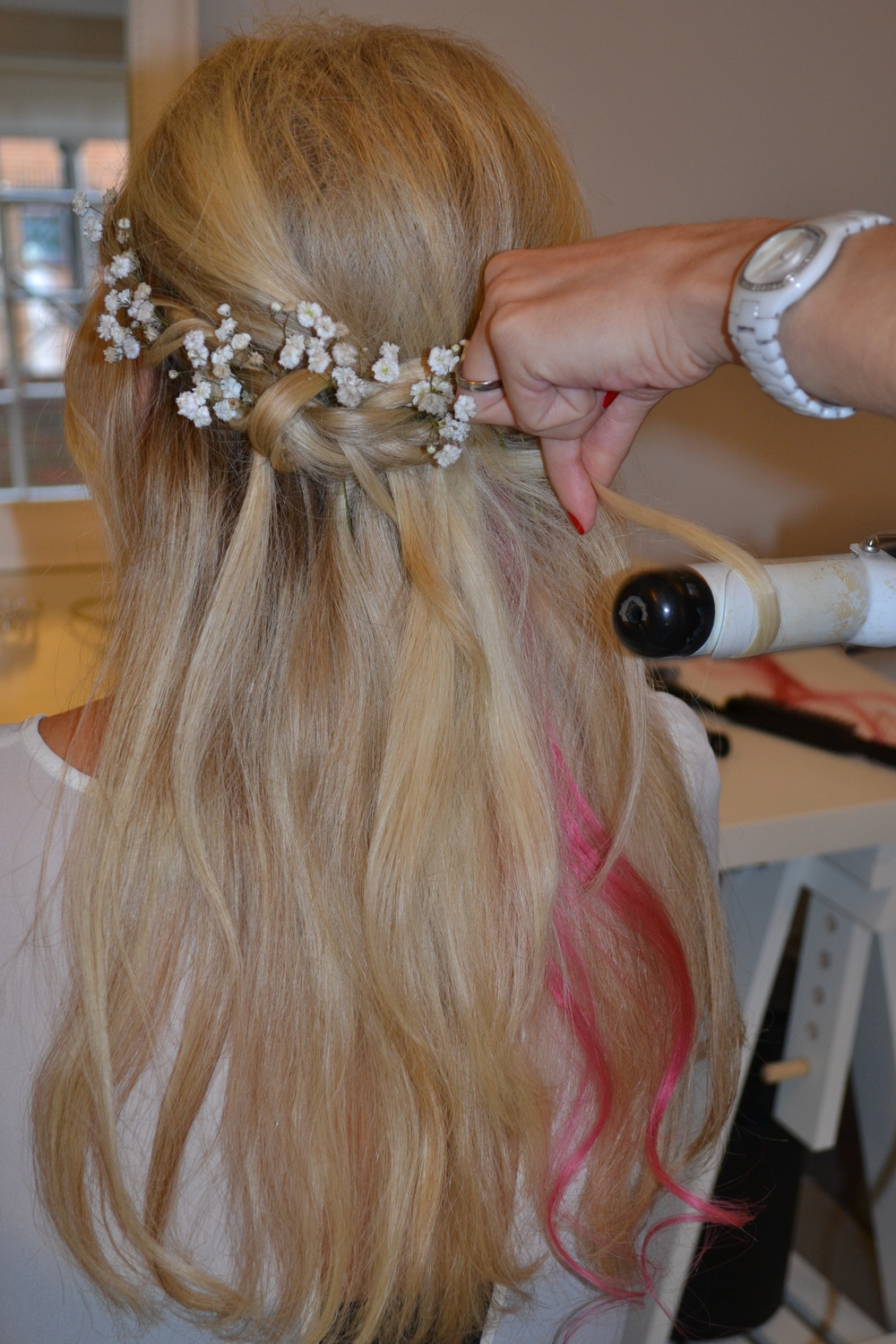 Bridal Hair Down With Flowers : Hair half up with waves braids