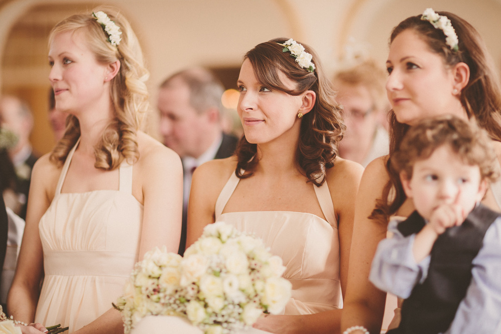 Bridesmaids with their hair half up