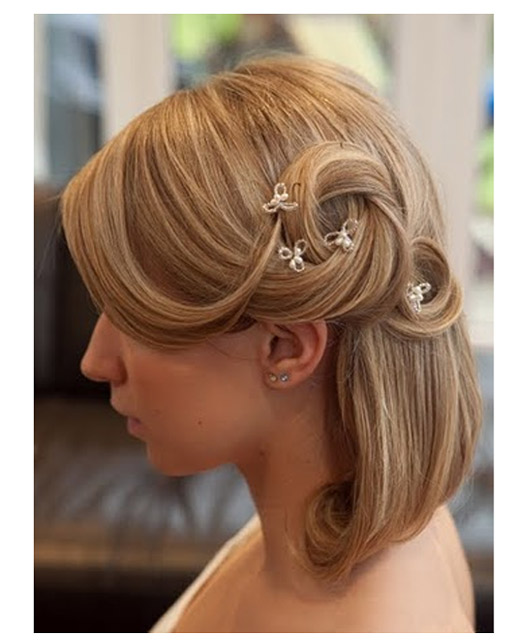 Half up wedding hair for shorter hair