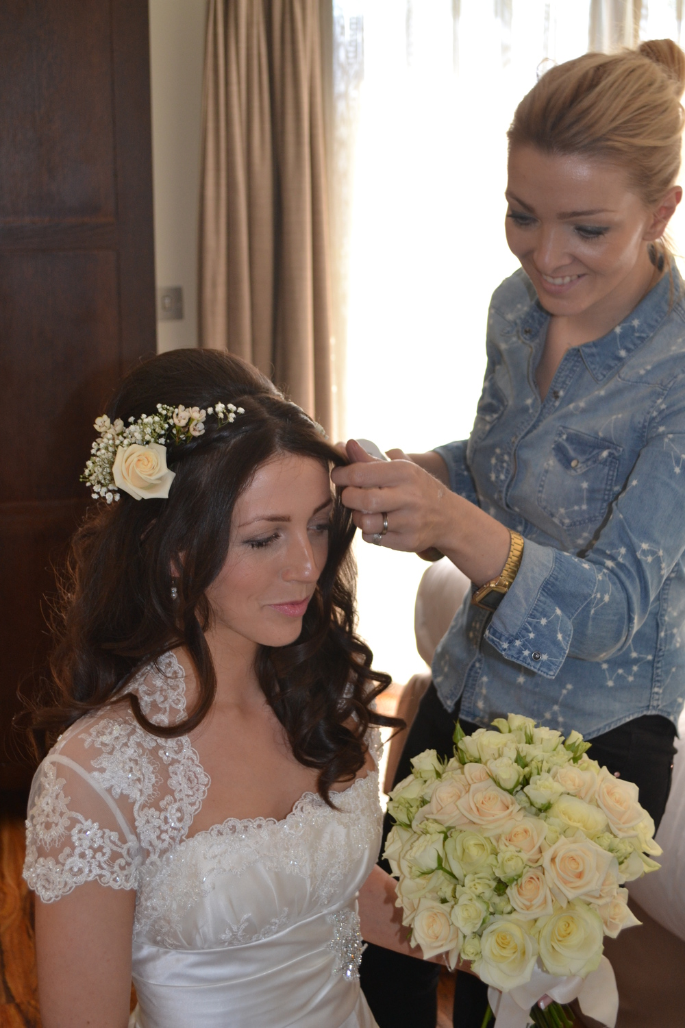 Jo styling the hair for Anna on her wedding day