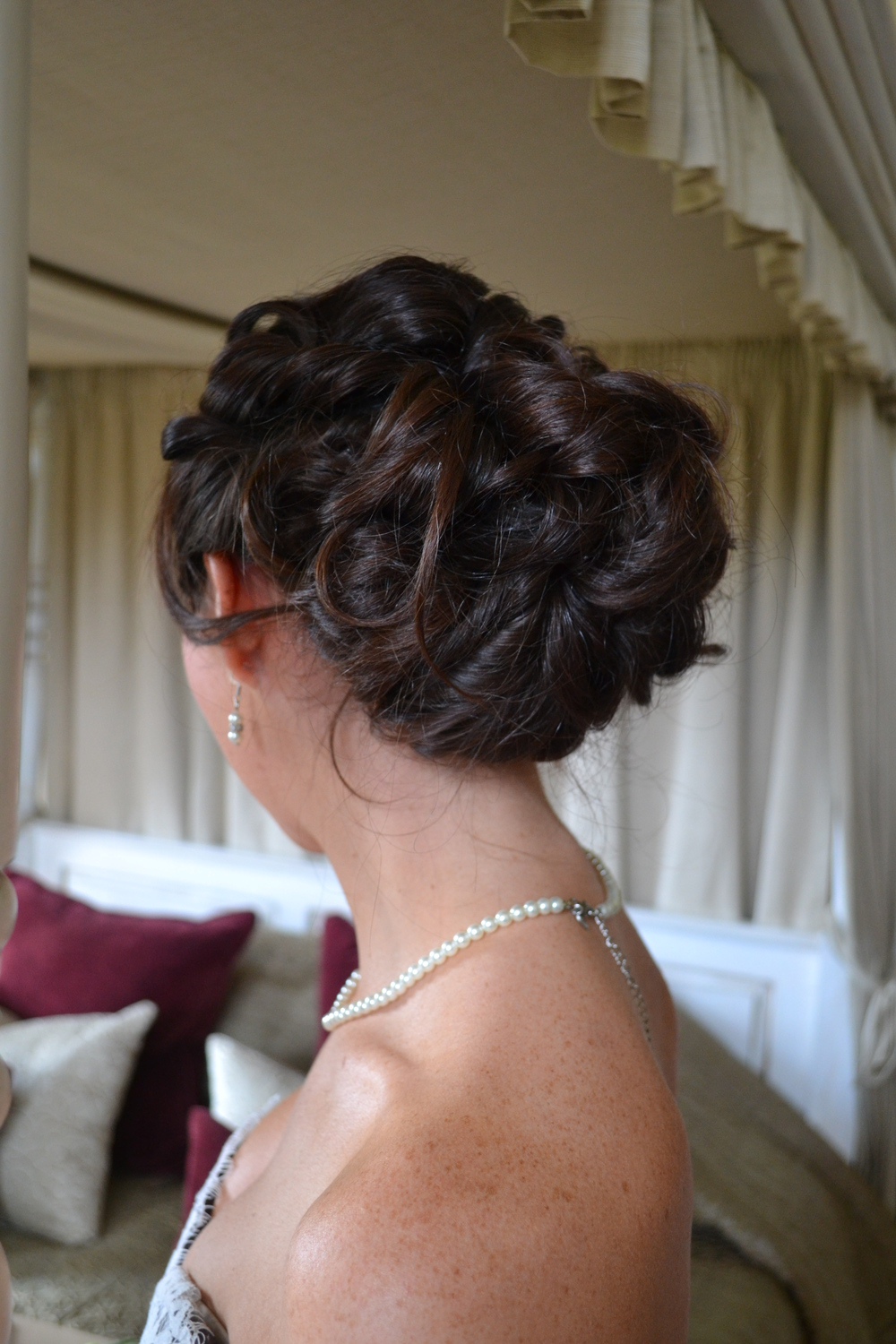 Curly Bridesmaid'sHair Pinned Up