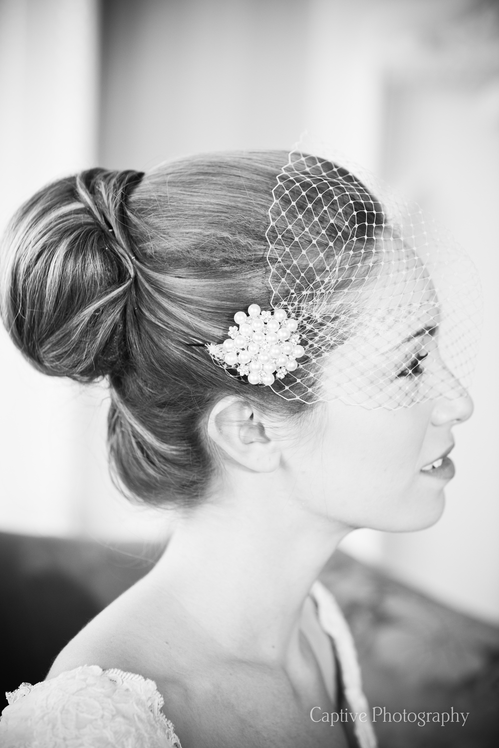 Hair up with Birdcage veil