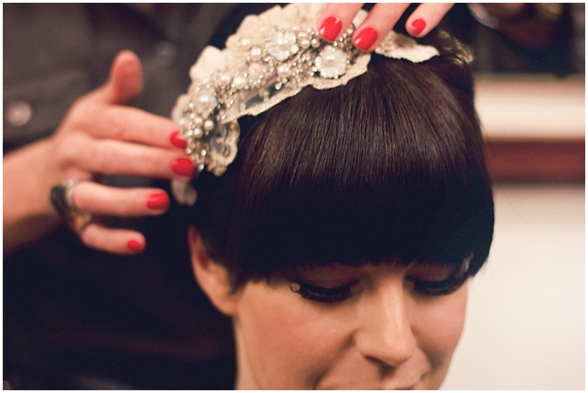 Bridal hair with a fringe