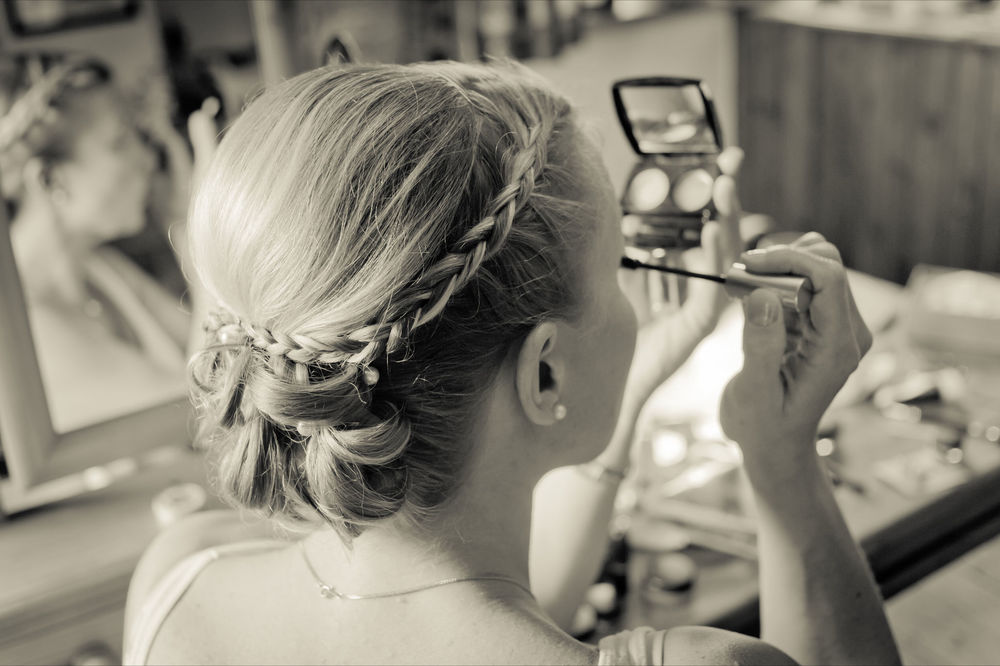 Bridesmaid at wedding in Cornwall, Up with plaits.jpg