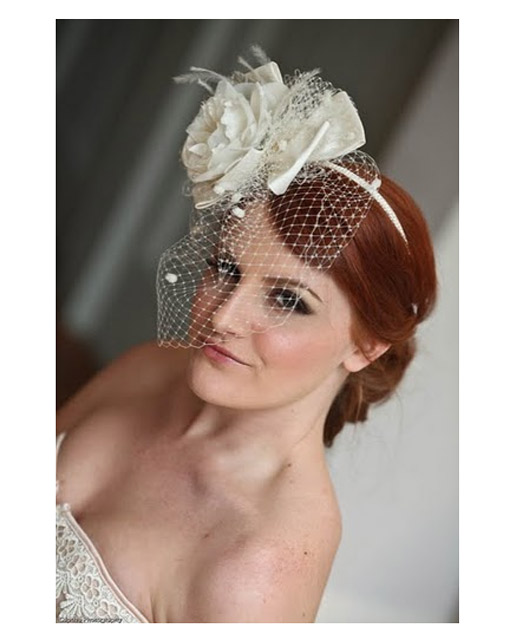 Soft hair up with birdcage veil