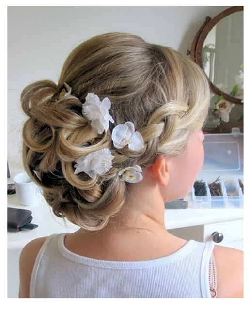 Bridal hair with plaits and flowers