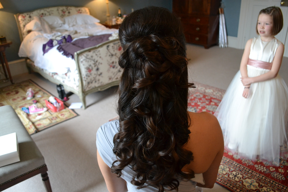 Bridesmaid hair at Cornwall wedding