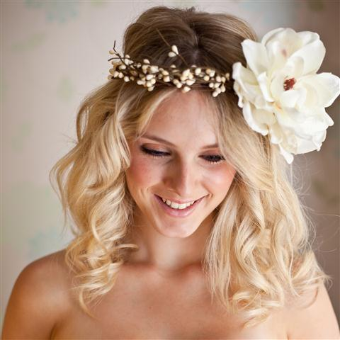 Woodland hair wreath with silk flower