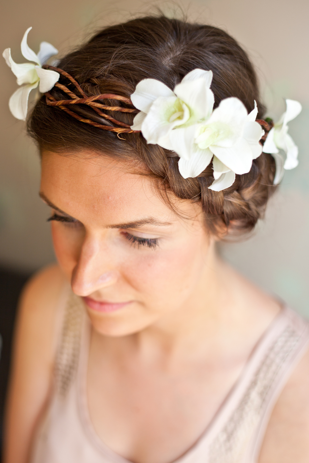 Grecian inspired floral wedding wreath