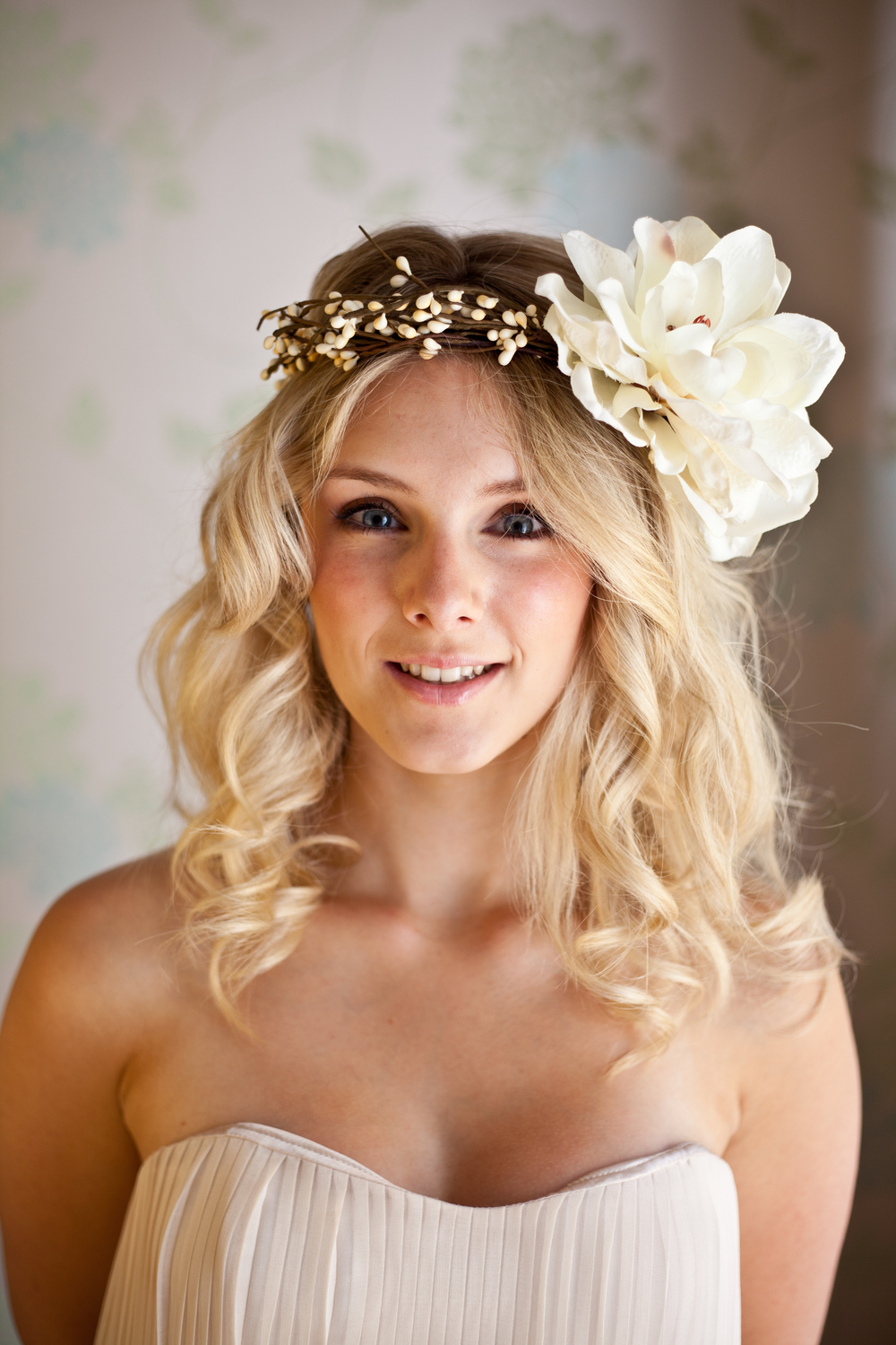 Woodland halo with silk flower