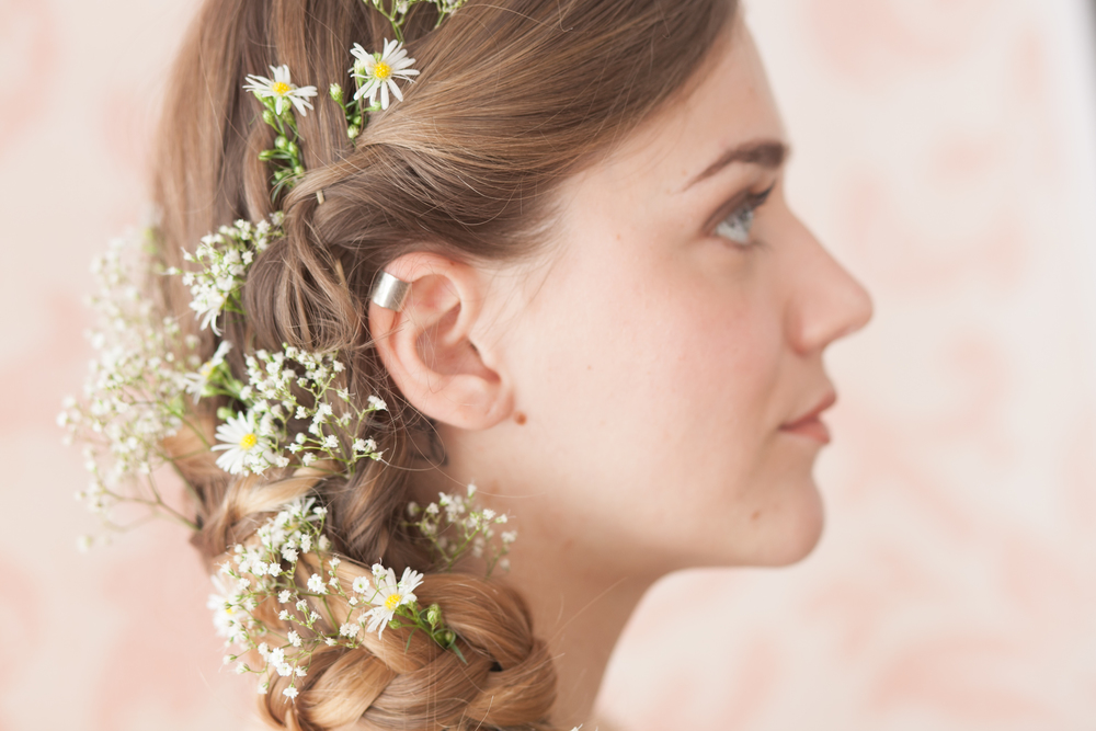 Gypsophila and daisy hair flowers