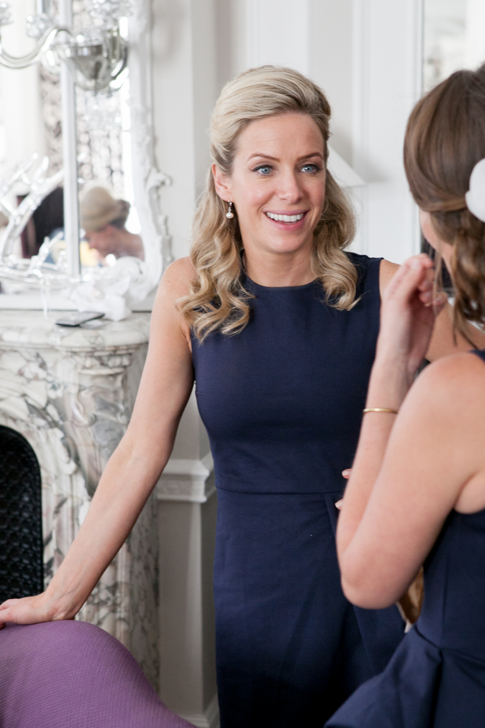 Half up Bridesmaids hair at Claridges Hotel