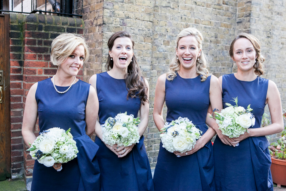 Happy bridesmaids at Claridges Hotel, London