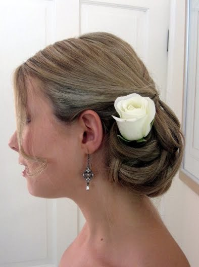 Classic hair up with white rose
