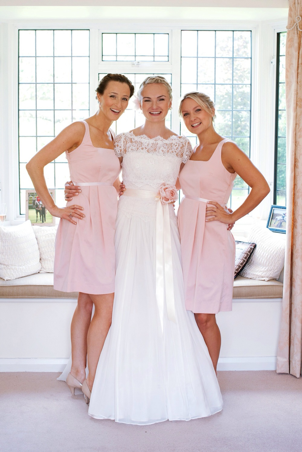 The very happy bride and her gorgeous bridesmaids, prep finally over, tears gone all ready for their day.