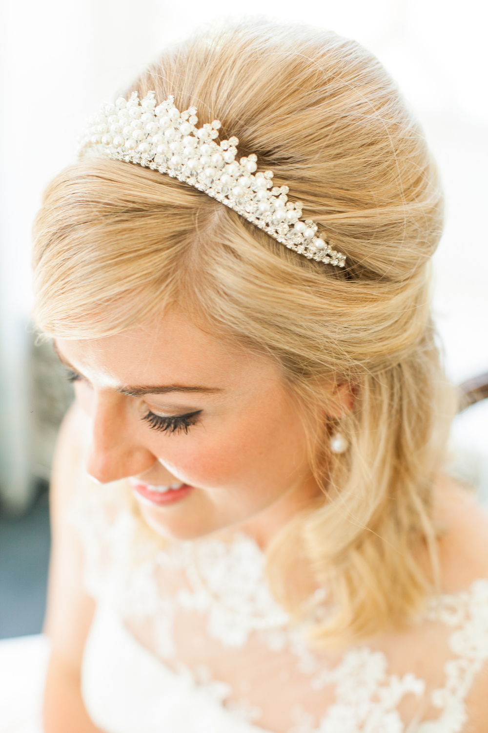 Shoulder length bridal hair
