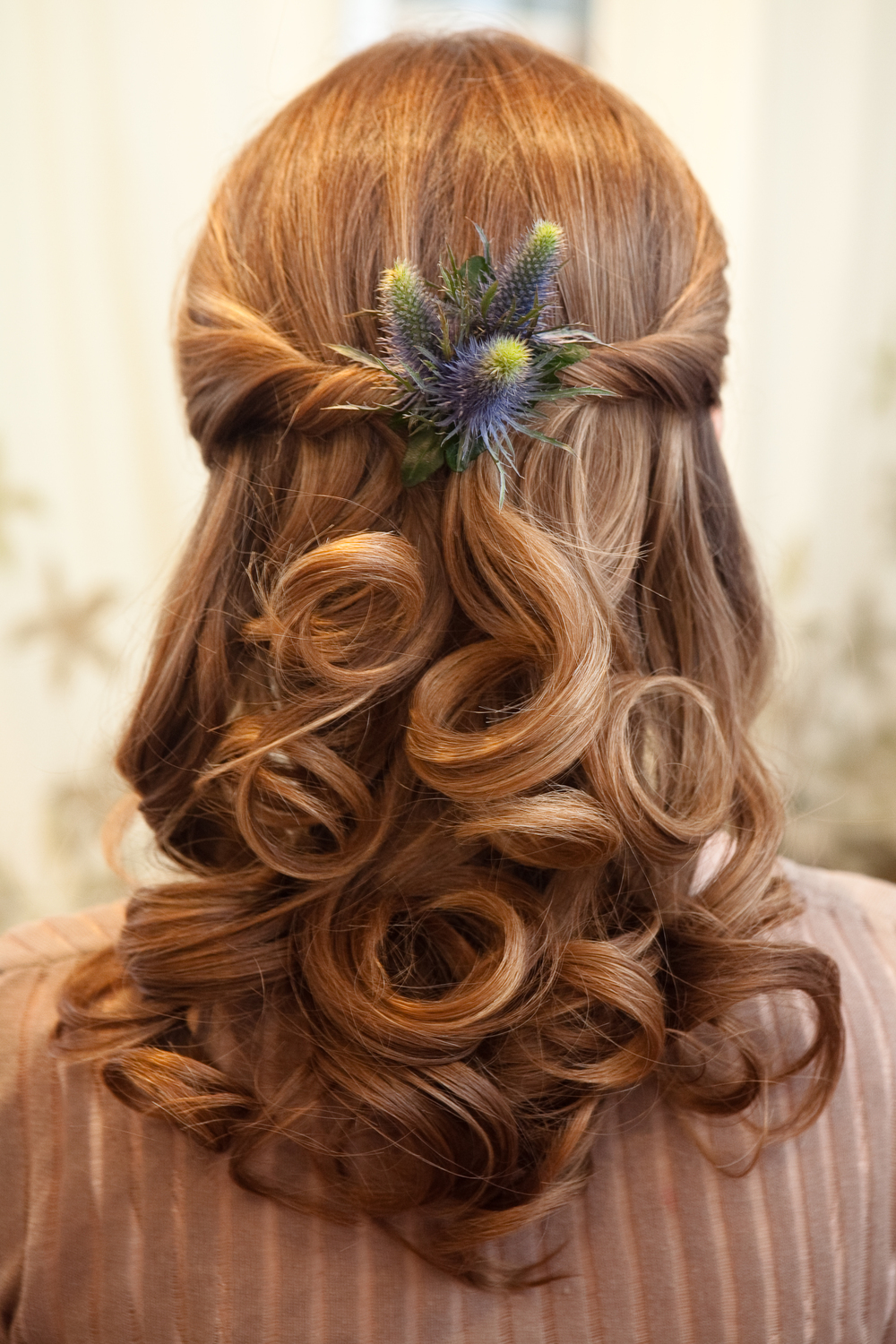 Wedding hairstyles for long hair with birdcage veil