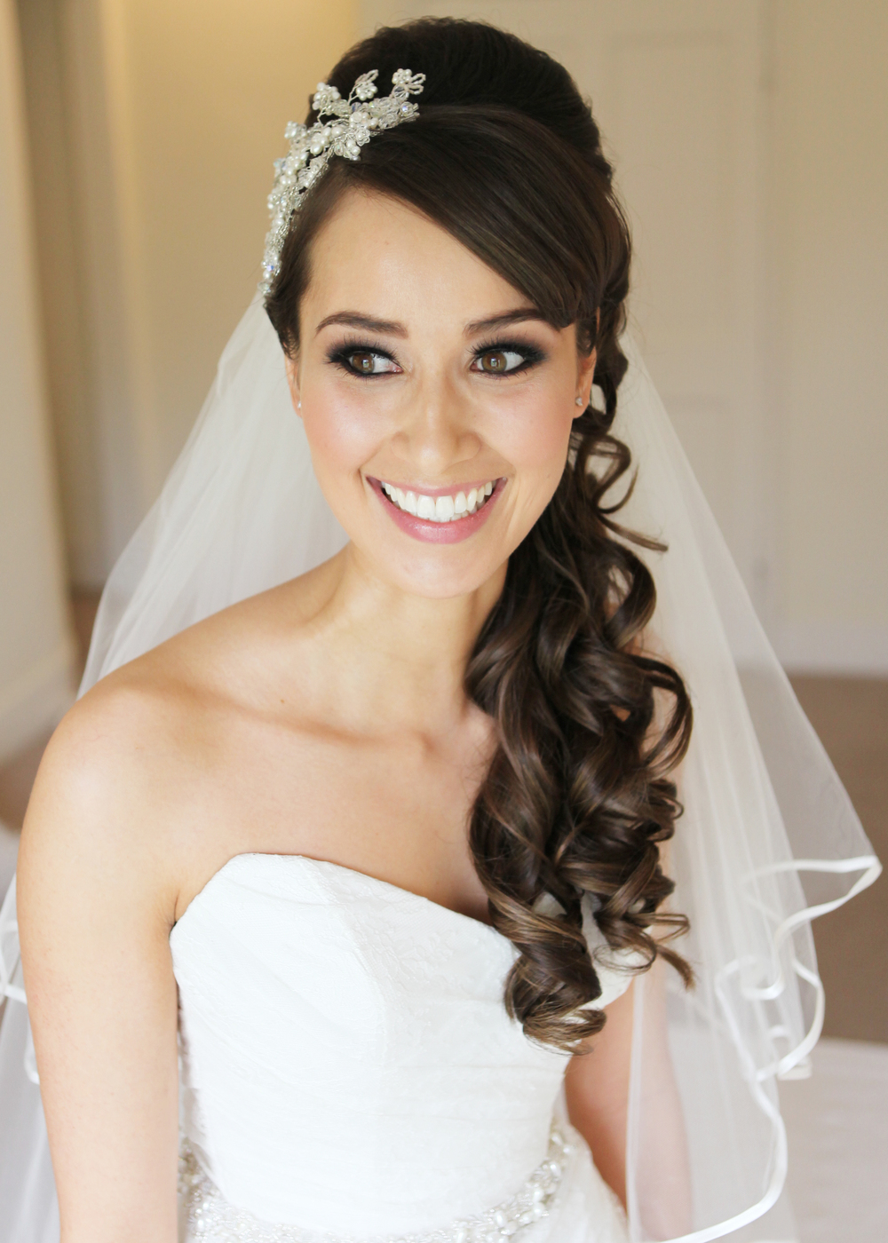 Long over the shoulder wedding hair