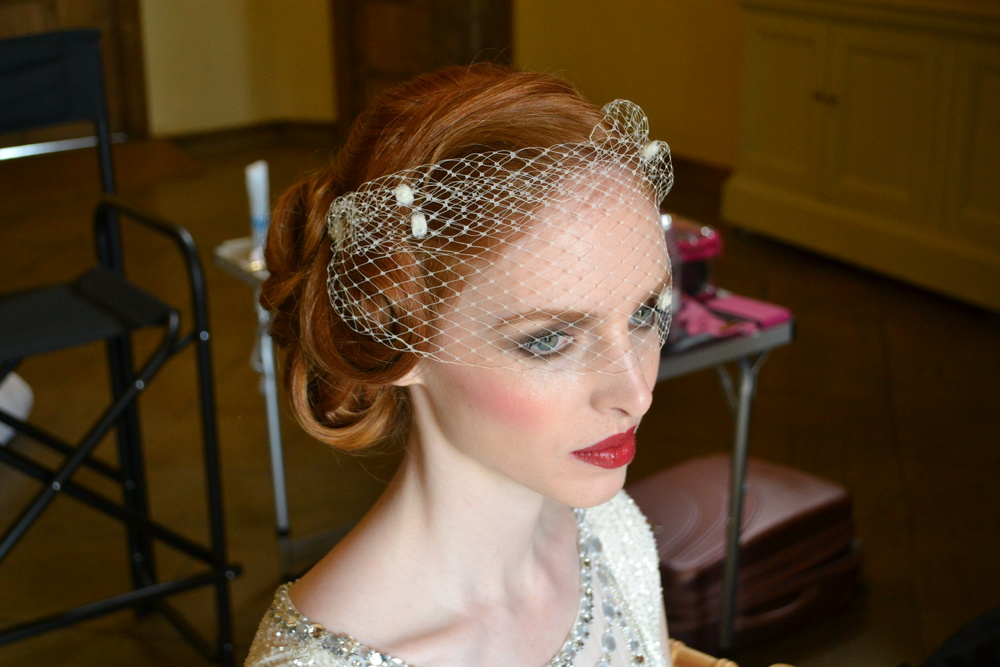 Same vintage style hair using different hair accessories to create a unique look. Visor veils have a 1920s feel rather than birdcage veils which came later