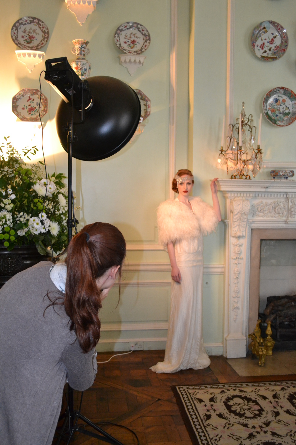 Working shot of Lucy Davenport getting creative with our vintage bride