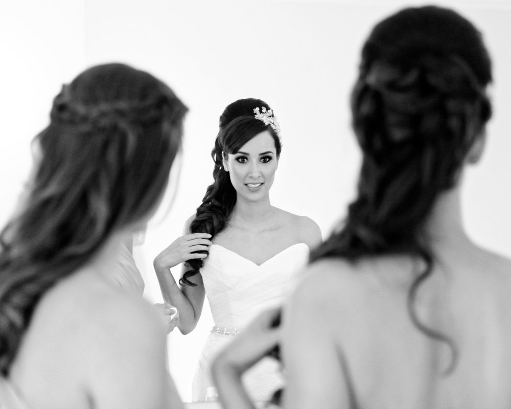 Bridal hair styled over the shoulder