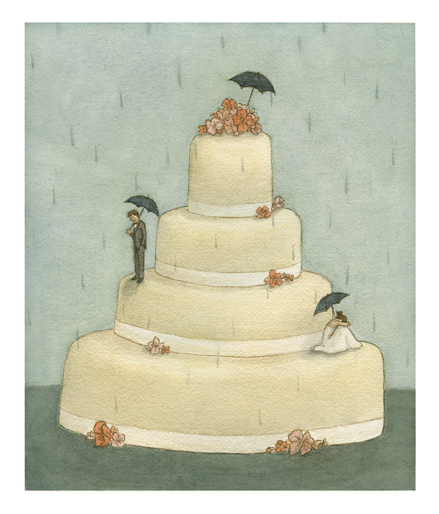 Old Wives' Tales series, Rainy Wedding, Watercolour The tale: if it rains on your wedding day your marriage will be full of tears.
