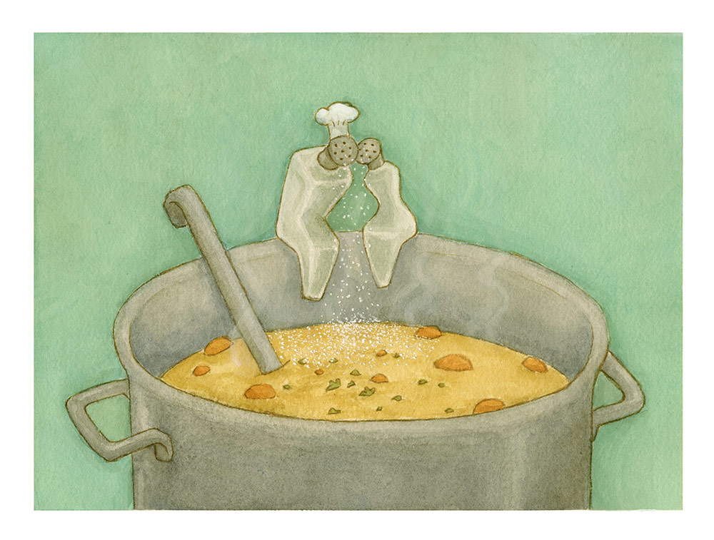 Old Wives' Tales series, Soup Love, Watercolour  The tale: salty soup means the chef is in love.