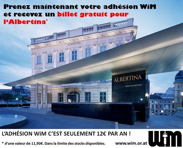 """Prends maintenant ton adhésion WiM et reçois en cadeau un billet gratuit pour l'Albertina… ...et parce que """"WiM est musique"""" tu auras également le droit à une entrée gratuite pour les concerts de La Gâpette et Paradicso le 15.03.2014 à l'Ost Klub (au lieu de 6€) ! Tous les autres avantages adhérents en un coup d'œil : *Entrée gratuite à toutes les Soirées Françaises *Tarif réduit pour les concerts (jusqu'à -50%) *BBQ à la Sauce WiM gratuit l'été *Jeu concours pour gagner des places de concert *Le Soundcheck-bière aux concerts (exclusivité WiM !) *et bien plus... Si tu prends ton adhésion avant le 31 janvier 2014 tu recevras en cadeau un billet gratuit pour l'Albertina. L'adhésion à l'association coûte seulement 1€ par mois, soit 12€ par an ! Comment cela fonctionne : Tu peux remplir le formulaire d'adhésion ici."""