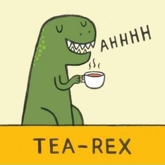 After my sunrise meditation, I always enjoy a cup of black tea with my favorite dinosaur.