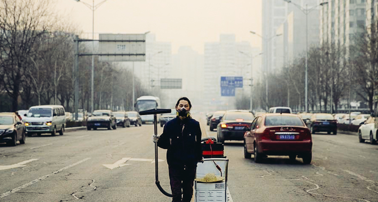 As Beijing is engulfed by its worst 'airpocalypse' of the year, one artist is taking to the streets to help us visualize just how bad pollution really is. See Full Article by Trevor Hewitt