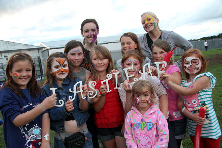 We got some of the children together that we got facepaint... for a Lastleaf pic... our time in the Park Hall Estates was amazing!!