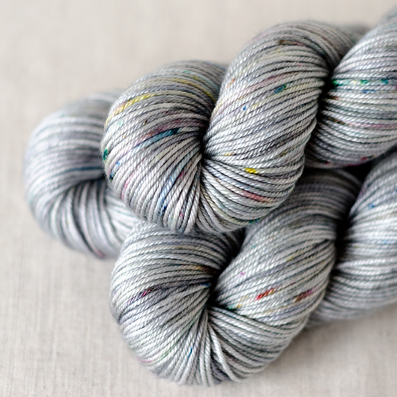 50/50 DK - $29 50% Superwash Merino, 50% Silk DK weight, 4 plies 230 yards / 210 meters Suggested needles: US 5-7 / 3.75-4.5mm Hand wash, dry flat 50/50 DK is soft and smooth with a nice drape and shine from the silk content.