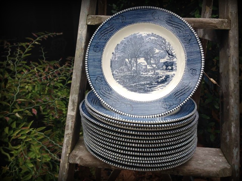 Every once in awhile each one of us has a lucky day and today was my day!  I had a few minutes before a meeting so I ran into a local thrift store that I had not been to in a while.  I have a normal route that I take through the store and the dishes and glassware are near the end.  I was thrilled beyond belief to find this set of Currier and Ives dishes and salad plates!  You see growing up my Grandma Mursch and Great Aunt Marion both had a set of these dishes.  After my Aunt passed away I was given her set, but it is quickly dimishing as the dishes chip and crack from 60+ years of use.  I have so many happy memories of family gatherings for every occasion you could imagine that surround these plates!  So I grabbed them up before anybody else could and was able to walk out of the store with 10 dinner plates and 4 salad plates for a mere $7.30!  What??!!  I am one happy girl today!!!